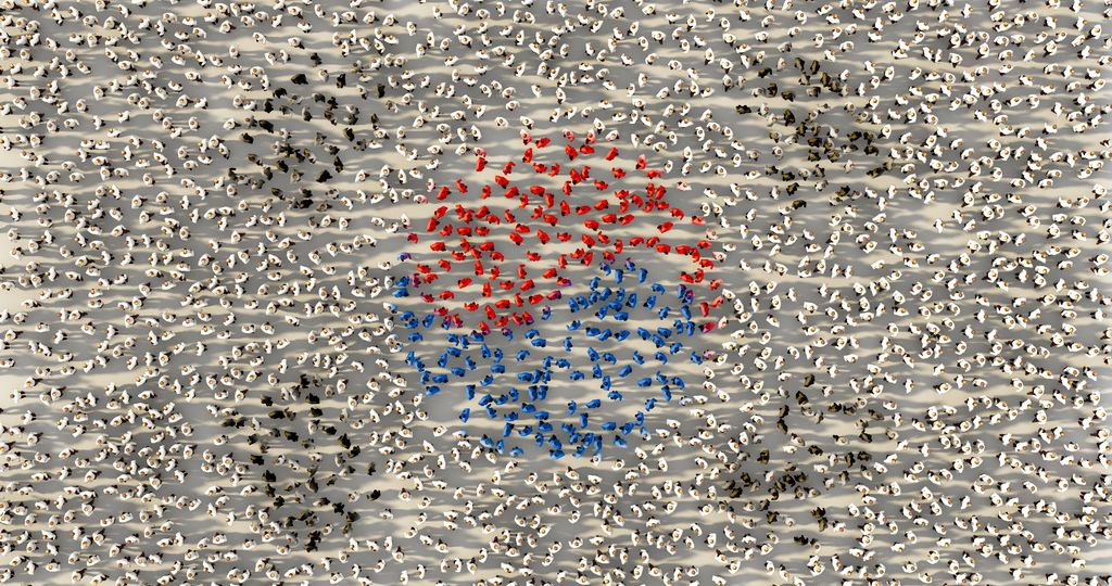 Large group of people forming South Korea national flag in social media and community concept on white background. 3d sign of crowd illustration from above gathered together